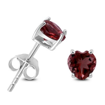 5mm Heart Shaped Garnet Earrings in .925 Sterling Silver