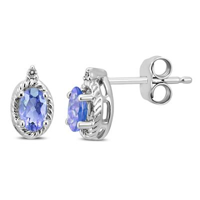 Oval Tanzanite and Diamond Stud Earrings in .925 Sterling Silver