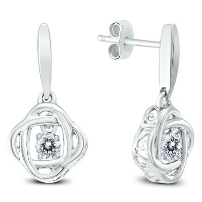White Topaz Infinity Dangle Earrings In .925 Sterling Silver