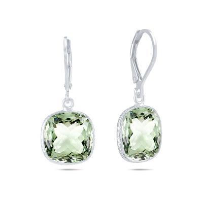 Cushion Cut 12MM Green Amethyst Drop Earrings in .925 Sterling Silver