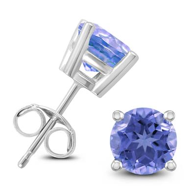 5MM All natural Round Tanzanite stud Earrings in Sterling Silver