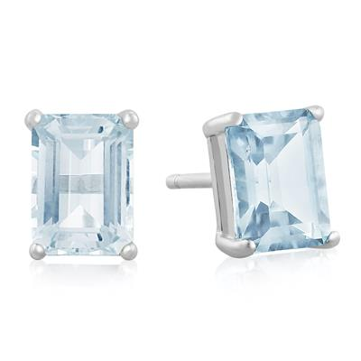 Szul 3 Carat TW Blue Topaz Earrings in Sterling Silver