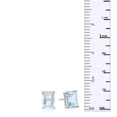 3 Carat TW Blue Topaz Earrings in Sterling Silver