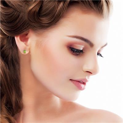 3 Carat TW Peridot Earrings in Sterling Silver