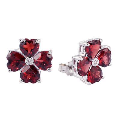 14k White Gold Diamond and Garnet Flower Earrings