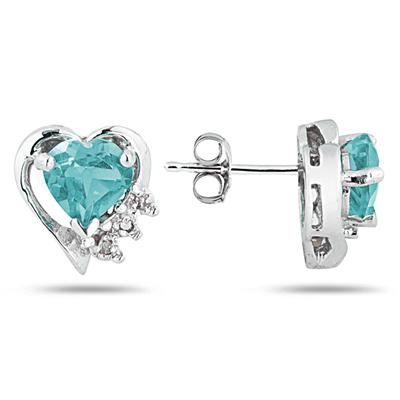 Aquamarine and Diamond Heart Earrings in 10k White Gold