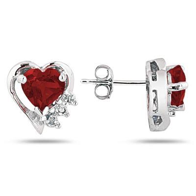 Garnet and Diamond Heart Earrings in 10k White Gold