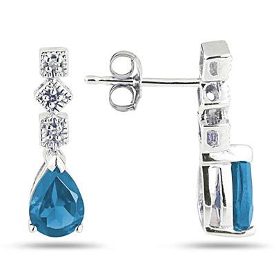 Blue Topaz and Diamond Antique Earrings in 14K White Gold