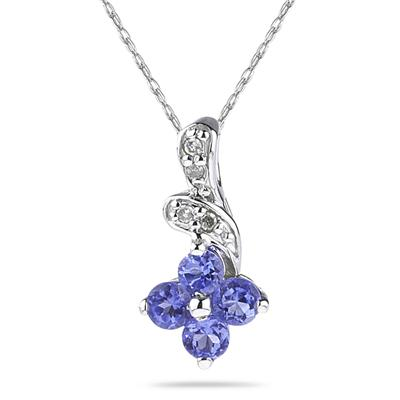 10K White Gold Tanzanite and Diamond Pendant