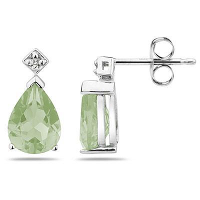Pear Shaped Green Amethyst & Diamond Earrings in 10k White Gold