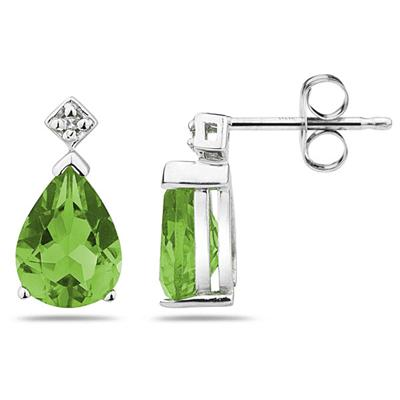 Pear Shaped Peridot & Diamond Earrings in 10k White Gold