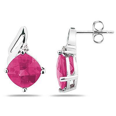 5 Carat Cushion Cut  Pink Topaz  & Diamond Earrings in 14K White Gold