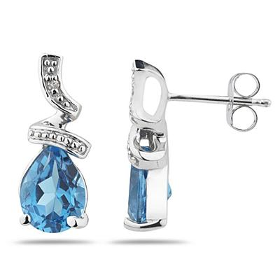 Pear Shaped Blue Topaz and Diamond Earrings in 10k White Gold