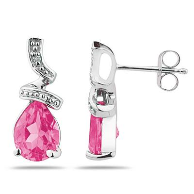 Pear Shaped Pink Topaz and Diamond Earrings in White Gold
