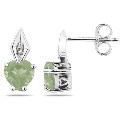 Heart Shape Green  Amethyst & Diamond Earrings in White Gold