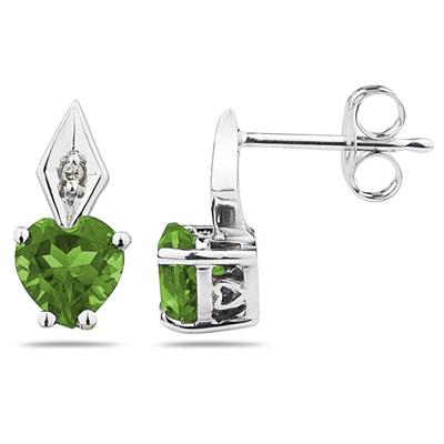 Heart Shape  Peridot  & Diamond Earrings in White Gold
