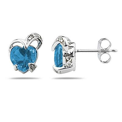 1 1/2 Carat TW Heart Shape Blue Topaz & Diamond Earrings in 14K White Gold
