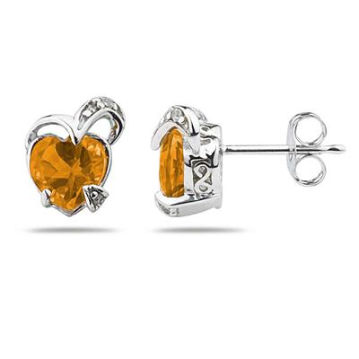 1 1/2 Carat TW Heart Shape   Citrine    & Diamond Earrings in 14K White Gold
