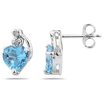 Heart Shape Blue Topaz & Diamond Earrings in White Gold