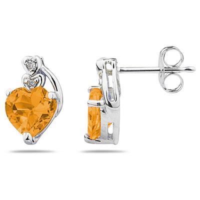 Heart Shape Citrine  & Diamond Earrings in 10k White Gold
