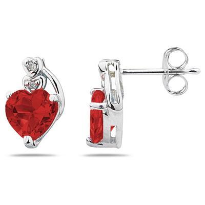 Heart Shape Garnet & Diamond Earrings in 10k White Gold