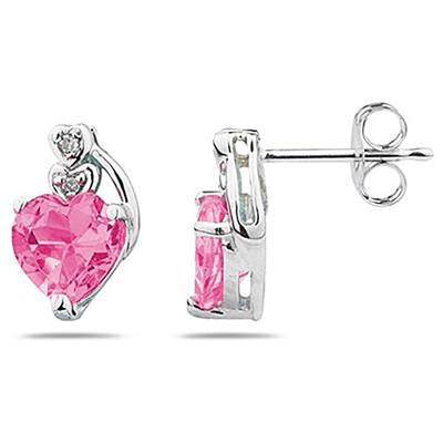 Heart Shape Pink Topaz & Diamond Earrings in 10k White Gold