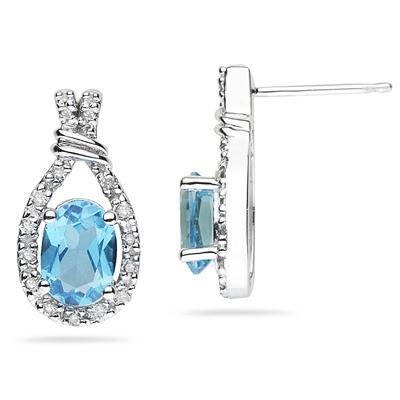 Blue Topaz & Diamonds Oval Shape Earrings in White Gold