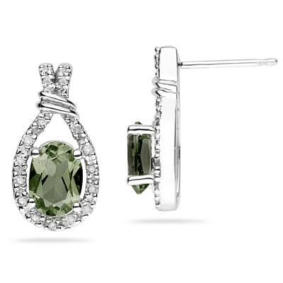 Green Amethyst  & Diamonds Oval Shape Earrings in White Gold
