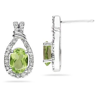 Peridot & Diamonds Oval Shape Earrings in 10k White Gold