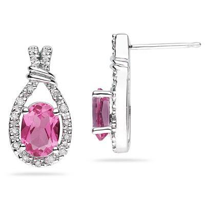 Pink Topaz & Diamonds Oval Shape Earrings in White Gold