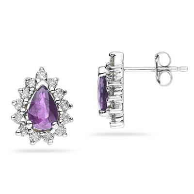 6X4mm Pear Shaped Amethyst and Diamond Flower Earrings in 14k White Gold