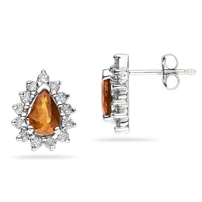 6X4mm Pear Shaped Citrine and Diamond Flower Earrings in 14k White Gold