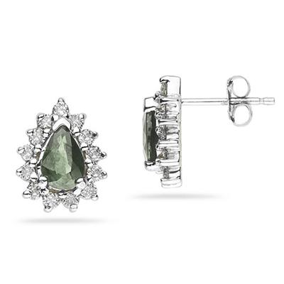 6X4mm Pear Shaped Green Amethyst and Diamond Flower Earrings in 14k White Gold