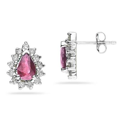 6X4mm Pear Shaped Pink Topaz and Diamond Flower Earrings in 14k White Gold