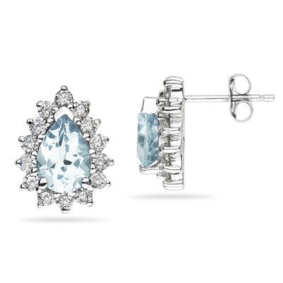 Pear Shape Aquamarine & Diamond Flower Earring