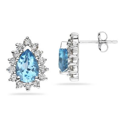Pear Shape Blue Topaz & Diamond Flower Earring