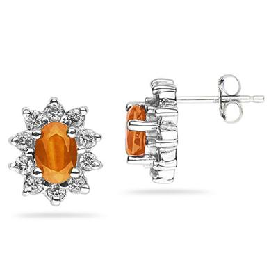 6X4mm Oval Shaped Citrine and Diamond Flower Earrings in 14k White Gold
