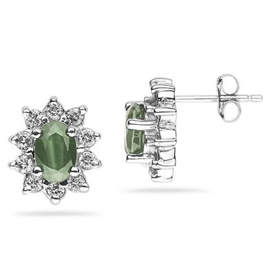 6X4mm Oval Shaped Green Amethyst and Diamond Flower Earrings in 14k White Gold