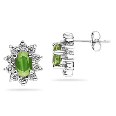 6X4mm Oval Shaped Peridot and Diamond Flower Earrings in 14k White Gold