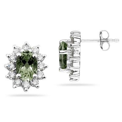 Oval Shape Green Amethyst & Diamond Flower Earring