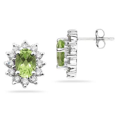 Oval Shape Peridot & Diamond Flower Earring