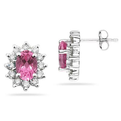 Oval Shape Pink Topaz & Diamond Flower Earring