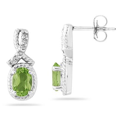 Oval Shaped Peridot and Diamond Earrings in White Gold