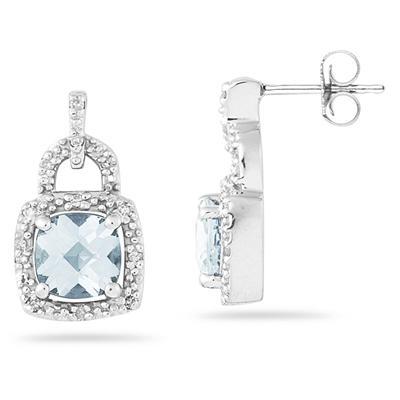Cushion Cut  Aquamarine and Diamond Earrings 10K White Gold