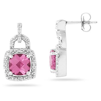 Cushion Cut Pink Topaz and Diamond Earrings 10K White Gold