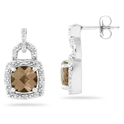 Cushion Cut  Smokey Quartz and Diamond Earrings 10K White Gold
