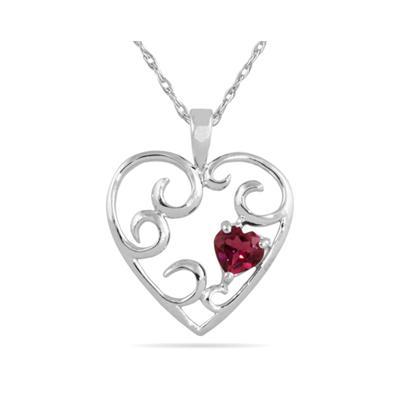 Heart Shaped Rhodolite Heart Pendant in White Gold
