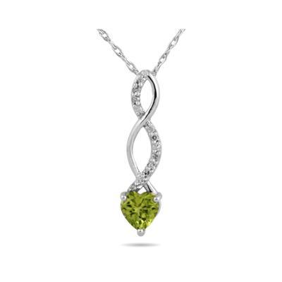 Peridot and Diamond Pendant in 10k White Gold
