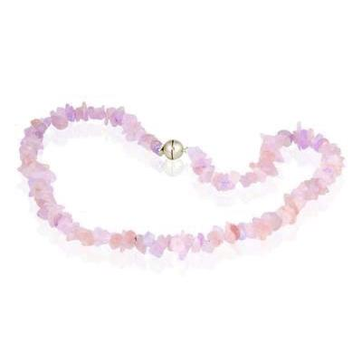 100 Carat All Natural Uncut Pink Quartz Necklace with Magnetic Clasp