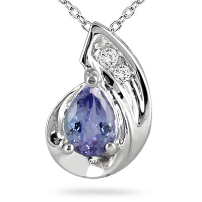 Pear Shaped Tanzanite and Diamond Pendant in 14K White Gold
